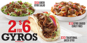 Arby's 2 for $6 Gyros and New Greek Gyro Salad & Gyro Curly Fries