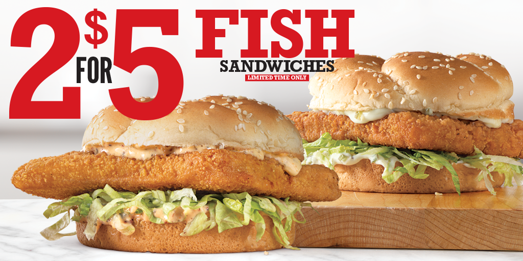 Arby's 2 for $5 Fish Sandwiches