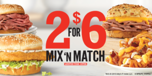 Arby's 2 for $6 Mix 'n Match