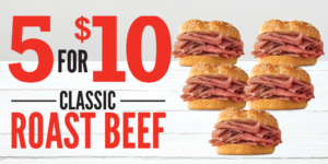 Arby's 5 Classic Roast Beef Sandwiches for $10 (limited time only)