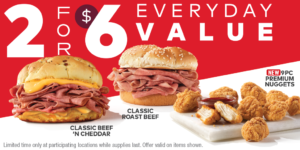 Arby's 2 for $6 Everyday Value (July 2021)