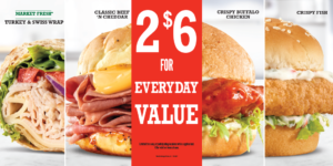 Arby's 2 for $6 Everyday Value