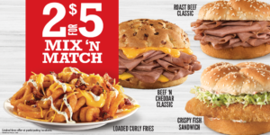 Choose 2 of 4 Delicious Arby's favorites, like our Classics> Famous Roast Beef & Beef 'n Cheddar sandwiches.