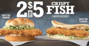 Get 2 Arby's Crispy Fish Sandwiches for only $5