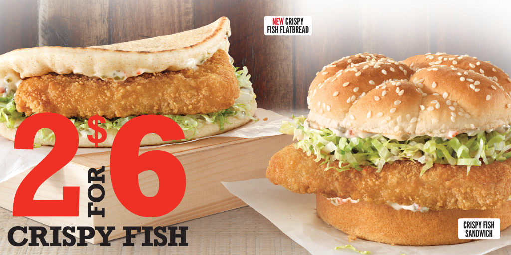 Arby's 2 for $6 Crispy Fish Filet Sandwiches