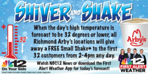 Arby's RVA> Shiver & Shake promotion in partnership with NBC12